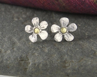 silver and gold flower earrings studs
