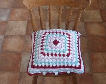 CUSHION / PILLOW cover . Super -soft, Alpaca and wool blend . Crochet. ' Country Rose ' .UK seller... ready to ship ....