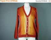 40% OFF 60s 70s Rust Cardigan Sweater Vintage Orange Striped Jumper Button Front Scholastic Preppy S M