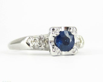 Vintage Sapphire & Diamond Engagement Ring, Circa 1940s Three Stone Ring in 14 Carat White Gold.