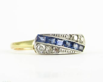 Art Deco Sapphire & Diamond Engagement Ring, Unique Panel Ring in Geometric Style with Milgrain Beading. 18ct and Platinum.