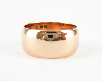 Antique Wide 9 Carat Rose Gold Wedding Ring, 1910s Ladies Wide Wedding Band. Size L.5 / 6.