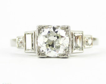 art deco diamond engagement ring old european cut diamond with straight cut baguettes circa - Old Wedding Rings