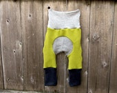 NEWBORN Upcycled Wool Maxaloones/ Miniloones Longies Soaker Cover Diaper Cover With Added Doubler Green/ Gray  NEWBORN 0-6M