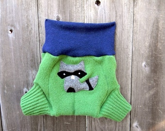 Upcycled Wool Soaker Cover Diaper Cover With Added Doubler Navy Blue / Pea Green  With Sneaky Raccoon Applique LARGE 12-24M