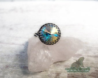 Celestial Magic Enchanted Rings Series -- MOONBEAM -- Aged Silver Adjustable ring with Swarovski crystal