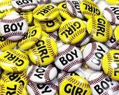 """Softball or Baseball Gender Reveal, 1"""" Pin Back Buttons, Baby Shower,Gender Reveal, Softball Gender Reveal, Basbeall Gender Reveal, Baby Pin"""