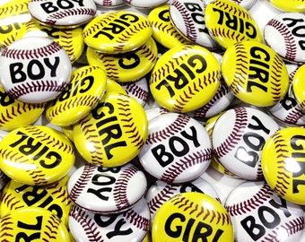"Softball or Baseball Gender Reveal, 1"" Pin Back Buttons, Baby Shower,Gender Reveal, Softball Gender Reveal, Basbeall Gender Reveal, Baby Pin"