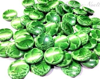 """Good Luck Charm, 1"""" Buttons, Clover Button, St. Patrick's Day, Clover Flatbacks, Clover Pinbacks, Flatbacks, Pinbacks, 4 Leaf Clovers, Irish"""
