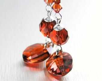 Dark Amber Red Earrings Sterling Silver Earrings RARE Swarovski Red Crystal Earrings Burnt Red Drop Earrings Red Crystal Dangle Earrings