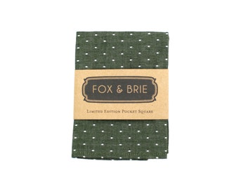 Olive Dot Pocket Square