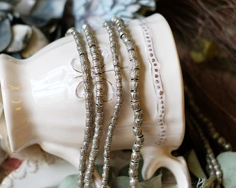 990 handmade silver - Manual embossing drum bead four style
