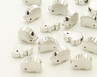ME-240-OR / 2 Pcs - Mini Hedgehog Charms, Hedgehog Metal Beads Spacers, Silver Plated over Brass / 7mm x 5.5mm