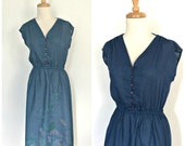 Vintage 70s Blue Dress - floral day dress - shift - pullover - disco dress - Small