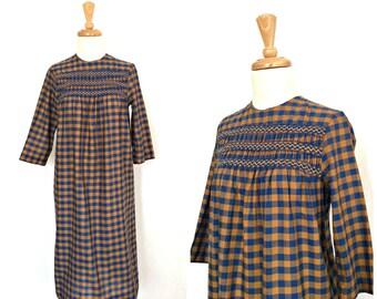 Vintage Checkered Dress - smocked dress - fall dress - midi - 60s dress - Small