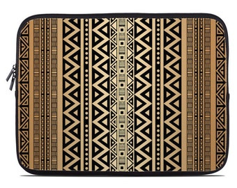 Tribal laptop case, laptop sleeve, laptop cover, to fit 10, 13, 15, 17 inch, brown