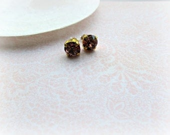 Blush Rose Swarovski Crystal Post earrings, Boutique Style earrings