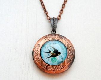 Bluebird of Happiness Locket Keepsake Necklace Vintage Copper