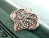Personalized Silver Jewelry, Infinite Love, Artisan Fine Silver Heart Pendant, Curling Vines and Leaves Design, Infinity Symbol
