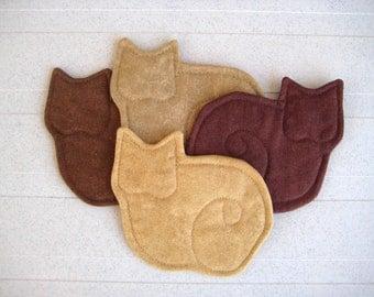 Kitty Cat Fabric Coasters Set of 4