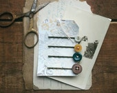 Bobby Pin Set Made From Vintage Buttons, Colorful Antique Button Hair Pins, Hair Accessories