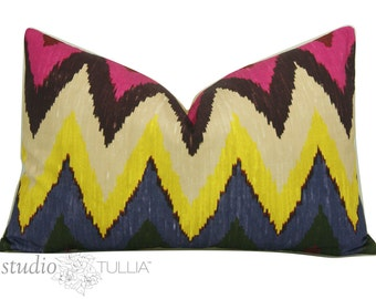Schumacher Pillow - Ikat - 14 x 22 - SALE - Martyn Bullard - Adras Ikat - Lumbar - Decorative Pillow Cover - ready to ship