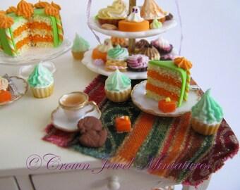 "OOAK 1:12 Annual Halloween Collectible ""Trick or Treat Dessert Table"" 2016 by IGMA Artisan Robin Brady-Boxwell - Crown Jewel Miniatures"