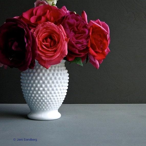 Fenton Hobnail Milk Glass Vase, Medium Size - White American Glass Vase