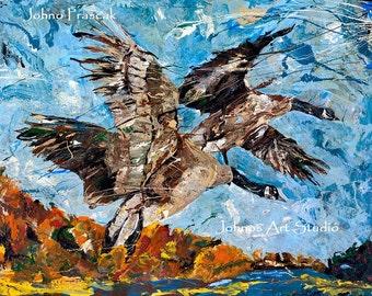Bird art, Geese wall art, Migration, Modern bird art,  Pittsburgh artist, by Johno Prascak, Johnos Art Studio