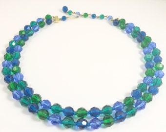 MULTI STRAND Necklace - Crystal Necklace - Blue Necklace - Green Necklace - Beaded Necklace - Vintage Necklace - Retro Necklace - MidCentury