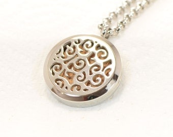 Aromatherapy  Pendant 316L Stainless Steel Necklace With 3 Handmade Leather Pads