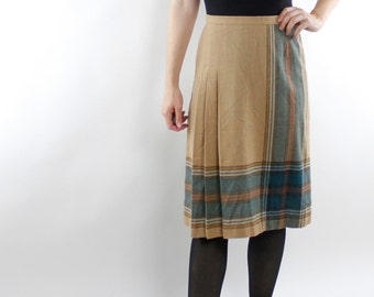 Vintage 70's / 80's wool blend skirt, tan with plaid, turquoise / brown, pleated, below the knee, Sutter Place - Small