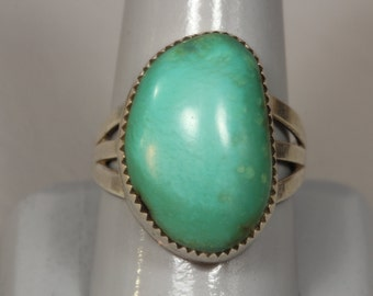 Green Turquoise Sterling Silver Modernist Ring, Large Vintage Fine Ring Size 10