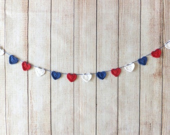 4th of July decor - crochet hearts garland - 4th of July garland - patriotic decor - 4th of July party decor - red - white - blue ~35.5 in