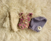 SALE, Set of 3 Girl's Knit Hats, Newborn Photography Prop