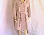 1970 Forecaster of Boston Mauve Woven Polyester Double Breasted Trench Coat and Belt