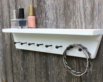 Jewelry Organizer, Key Hook, Wall Shelf, Wall Shelf with Hooks