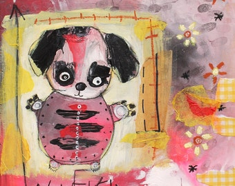 Childlike Art, Original Abstract Painting. puppy dog wall art, art brut painting, outsider art, expressionist, kids room, animal painting