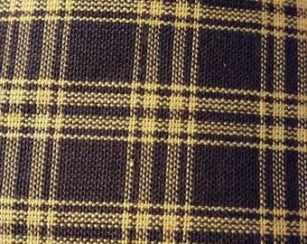 2 Yards Primitive Homespun Fabric - Navy Blue/Tan Square