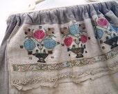 Arts & Crafts Embroidered Linen Bag - Mission - Stickley - Craftsman Era