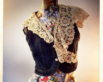 Denim Vest with Antique Belgian Lace     International Shipping