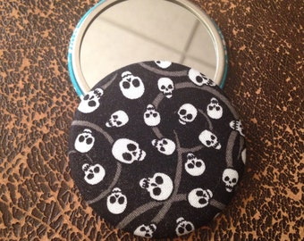 ON SALE - Black and White Skulls Fabric Pocket Mirror