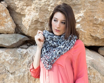 Handmade grey scarf - light and dark gray openwork crochet shawl