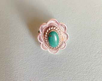 SALE! navajo stamped turquoise + silver ring