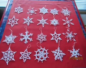 20 Handmade Snowflakes Lot 8 Crocheted White
