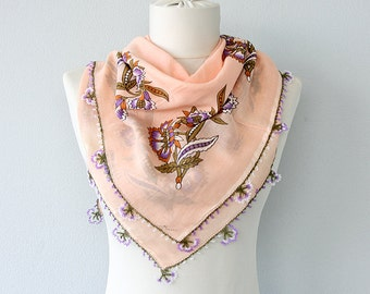 Turkish scarf Pure cotton needle lace scarf Boho summer shawl Hand printed scarf Yemeni oya Needlework head scarf Peach salmon scarf