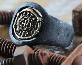 Black Oxidized Ring Brushed Signet Rings Carpe Diem Jewelry