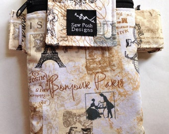 Paris Vinyage Style Fabric Iphone Galaxy Cell Phone Armband Arm Band Zipper Pocket Gadget Phone Pouch Case Washable  Waterproof Lining
