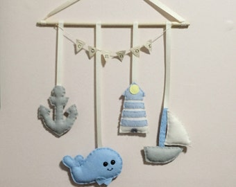 wool felt sealife whale sailboat anchor lighthouse nautical theme modern wall baby mobile dream catcher