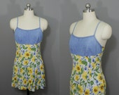 Vintage sunflower mini dress with denim top as-is